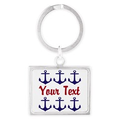 Personalizable Red and Blue Anchors Keychains