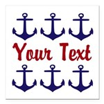 Personalizable Red and Blue Anchors Square Car Mag