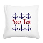 Personalizable Red and Blue Anchors Square Canvas