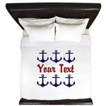Personalizable Red and Blue Anchors King Duvet