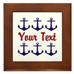 Personalizable Red and Blue Anchors Framed Tile