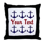 Personalizable Red and Blue Anchors Throw Pillow