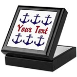 Personalizable Red and Blue Anchors Keepsake Box