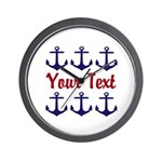 Personalizable Red and Blue Anchors Wall Clock
