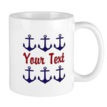 Personalizable Red and Blue Anchors Mugs
