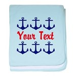 Personalizable Red and Blue Anchors baby blanket