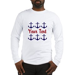 Personalizable Red and Blue Anchors Long Sleeve T-