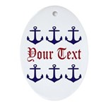 Personalizable Red and Navy Anchors Oval Ornament