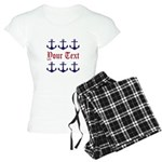 Personalizable Red and Navy Anchors Pajamas