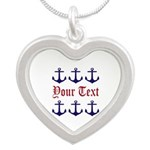 Personalizable Red and Navy Anchors Necklaces