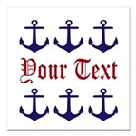 Personalizable Red and Navy Anchors Square Car Mag