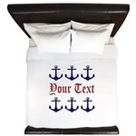 Personalizable Red and Navy Anchors King Duvet