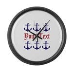 Personalizable Red and Navy Anchors Large Wall Clo