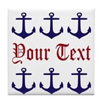 Personalizable Red and Navy Anchors Tile Coaster
