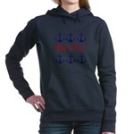Personalizable Red and Navy Anchors Women's Hooded