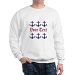 Personalizable Red and Navy Anchors Sweatshirt