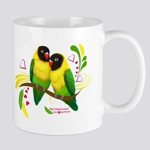 Black Masked Lovebirds Mugs