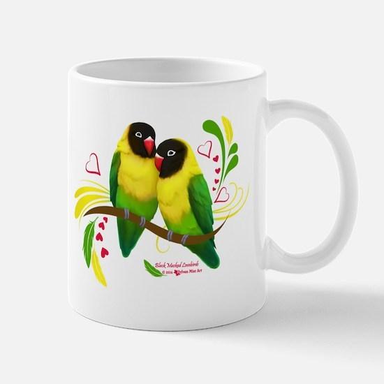 Black Masked Lovebirds Mugs