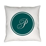 Personalized Turquoise Circle Everyday Pillow