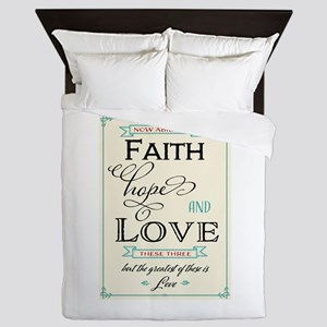 Faith Hope and Love in Red and Turquoi Queen Duvet