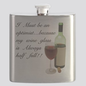 Wine Glass Half Full Optimist Flask