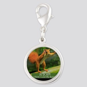 squirrel lost his nuts 2 Silver Round Charm
