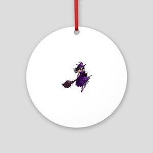 Sexy Purple Halloween Witch Round Ornament