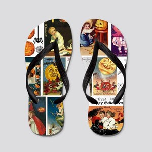 Halloween Vintage Greeting Card Collage Flip Flops