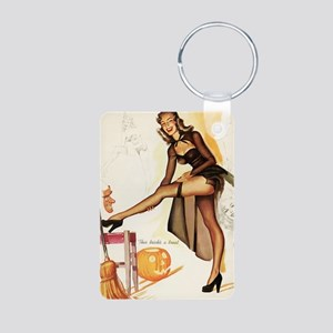 Halloween Sexy Trick AND T Aluminum Photo Keychain