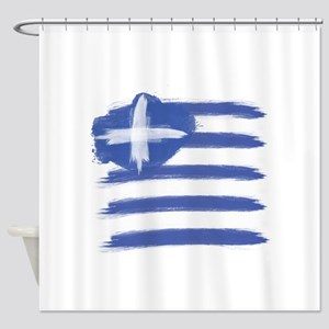 Greece Flag greek Shower Curtain