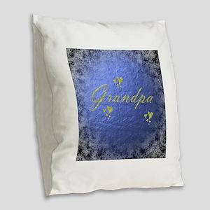golden text grandpa Burlap Throw Pillow