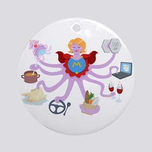 Super Mom Round Ornament