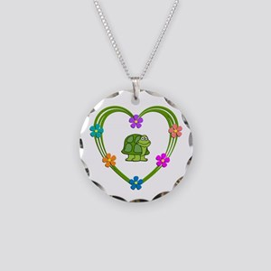 Turtle Heart Necklace Circle Charm