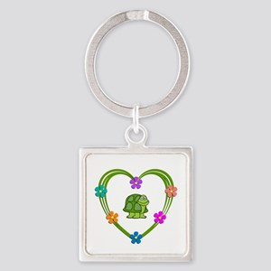 Turtle Heart Square Keychain