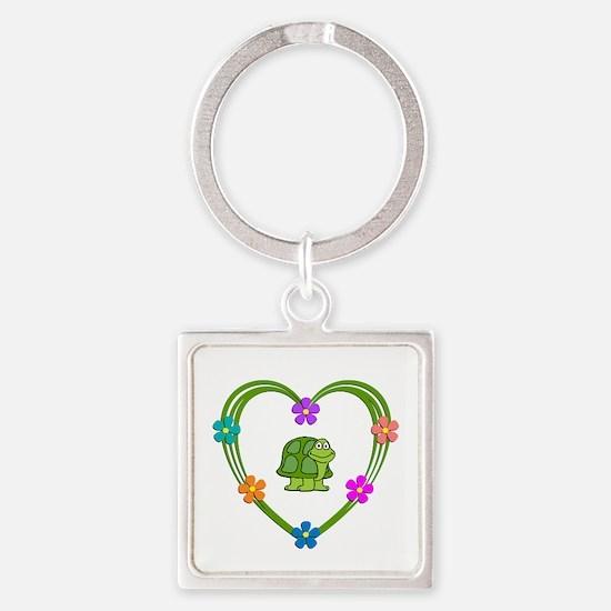 Turtle Heart Square Keychain
