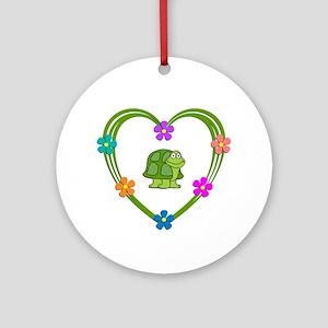 Turtle Heart Round Ornament
