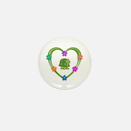 Turtle Heart Mini Button