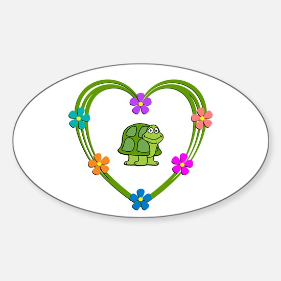 Turtle Heart Sticker (Oval)