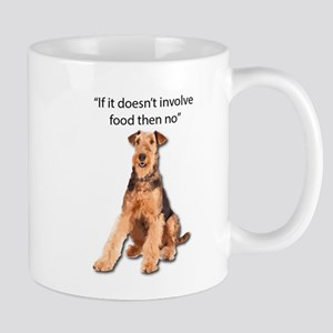 Greedy Airedale in it for the Food Mugs