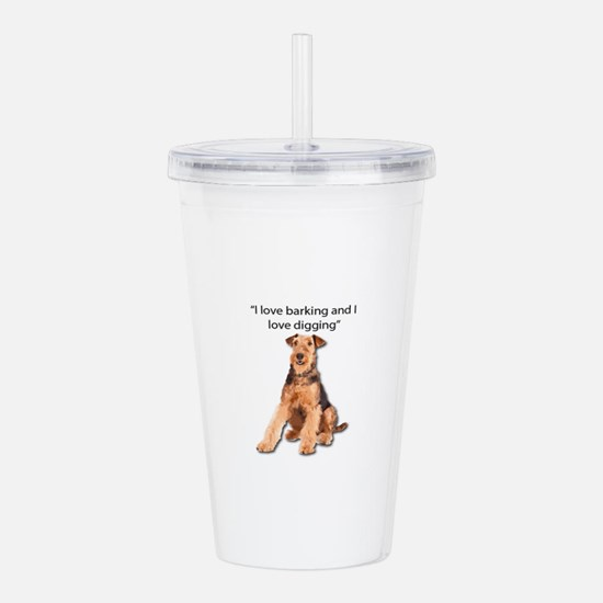 Airedales love barking Acrylic Double-wall Tumbler