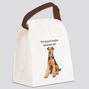 Greedy Airedale in it for the Foo Canvas Lunch Bag