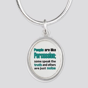 People are like Percussion Silver Oval Necklace