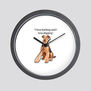 Airedales love barking and digging Wall Clock