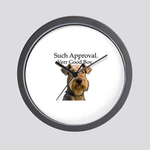 Good Airedale Terrier seeking Approval Wall Clock