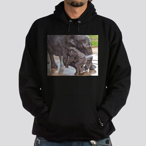 BABY ELEPHANT BATH TIME WITH MOTHER Hoodie (dark)