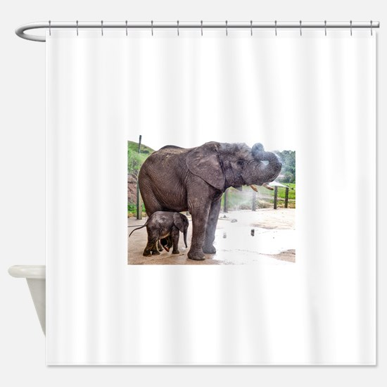 Funny Elephant mother and baby Shower Curtain