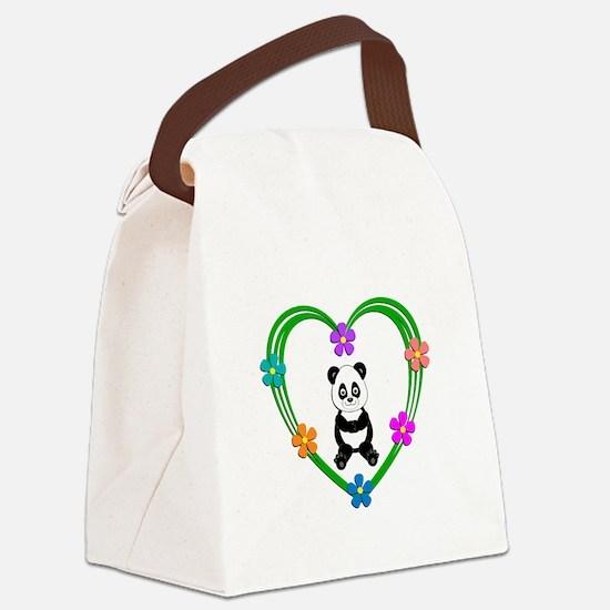 Panda Heart Canvas Lunch Bag