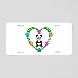 Panda Heart Aluminum License Plate