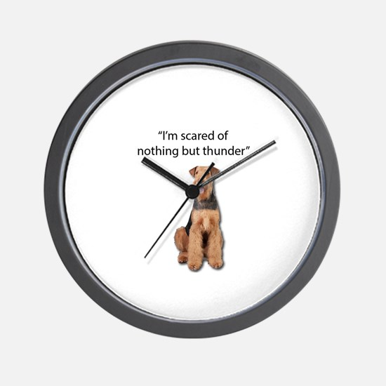 Tough Airedale is Scared of Thunder Wall Clock