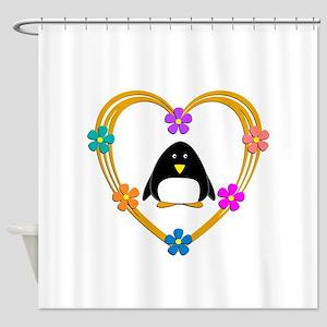 Penguin Heart Shower Curtain